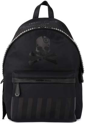 Philipp Plein Skull Black Nylon And Faux Leather Backpack With Studs