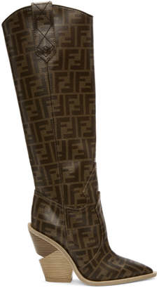 Fendi Brown Forever Cowboy Tall Boots