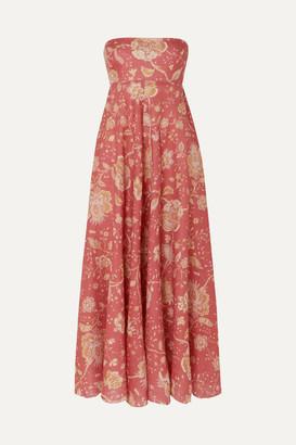 Zimmermann Veneto Strapless Printed Linen Midi Dress - Red