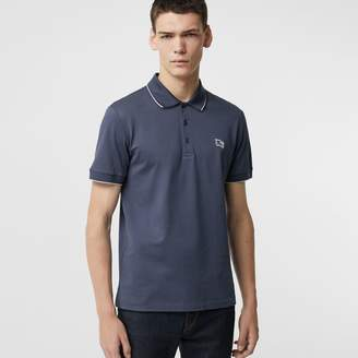 Burberry Tipped Cotton Pique Polo Shirt, Blue