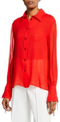 Carolina Herrera Tie-Sleeve Silk Button-Front Blouse