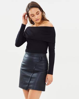 Karen Millen Faux Leather Wrap Skirt