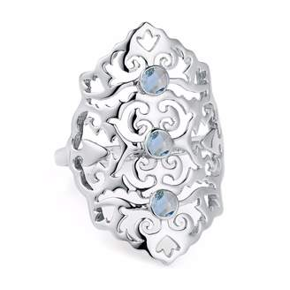 Neola - Jade Sterling Silver Cocktail Ring with Blue Topaz