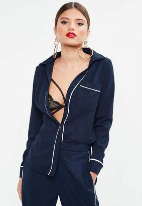 Missguided Navy Piped Pocket V Neck Shirt