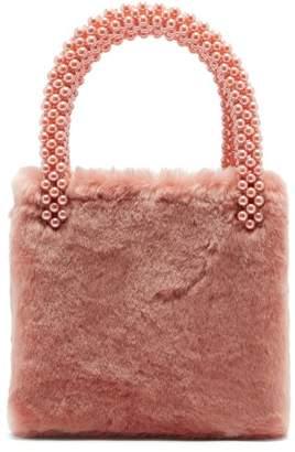 Shrimps - Una Faux Pearl Embellished Faux Fur Bag - Womens - Pink