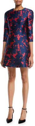 Jason Wu 3/4-Sleeve Floral-Jacquard Mini Cocktail Dress