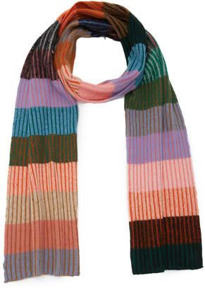 The Elder Statesman Striped Rib-Knit Cashmere Scarf