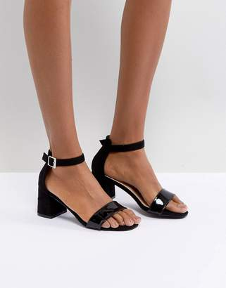 Glamorous Barely There Mid Heeled Block Sandal in Black