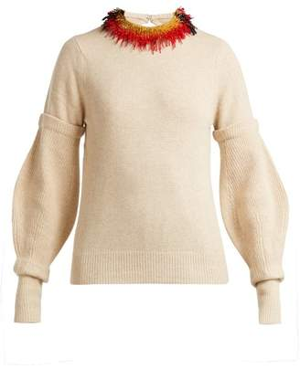 Toga Beaded Wool Blend Sweater - Womens - Cream