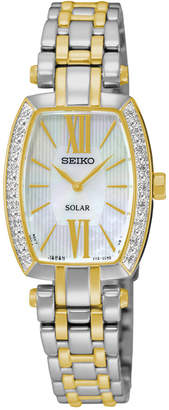 Seiko Women's Solar Tressia Diamond Accent Two-Tone Stainless Steel Bracelet Watch 22mm SUP284 $495 thestylecure.com