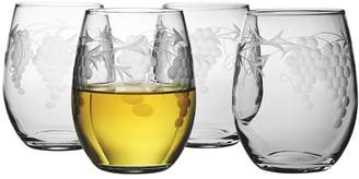 Susquehanna Glass Co. Sonoma Stemless Wine Glasses (Set of 4) - Clear With Hand-cut Pattern