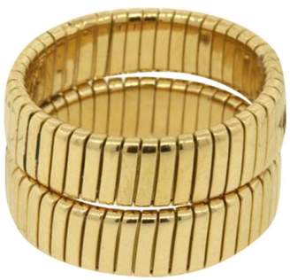 Bulgari 18K Yellow Gold Classic Cable Lined Weave Braided Wedding Band Ring Size Small