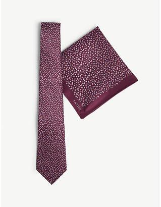 Lanvin Contrasting triangle silk tie and pocket square