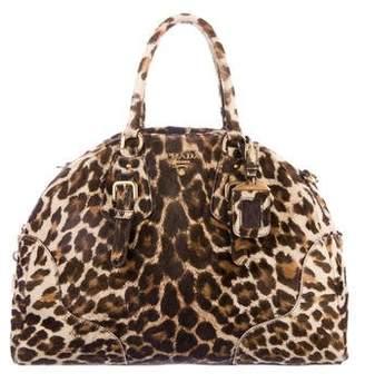 Prada Cavallino Leopard Bowler Bag