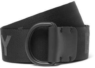 Burberry 4cm Black Leather-Trimmed Logo-Jacquard Webbing Belt
