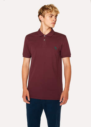 Paul Smith Men's Slim-Fit Burgundy Embroidered 'Zebra' Polo Shirt