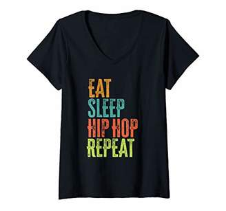 Womens Eat Sleep Hip Hop Repeat Music Festival Rave Dance Techno DJ V-Neck T-Shirt