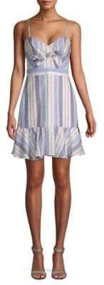 Parker Tie Front Striped Linen Dress