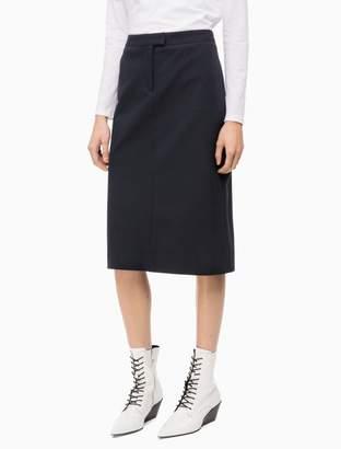 Calvin Klein cotton stretch straight long skirt