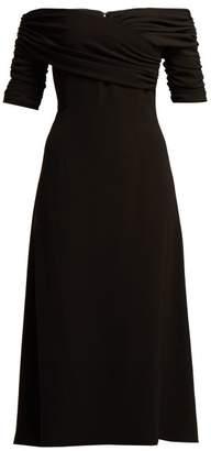 Emilia Wickstead Francoise Off The Shoulder Midi Dress - Womens - Black