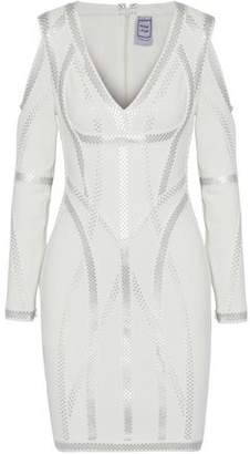 Herve Leger Hayden Cold-Shoulder Metallic-Trimmed Bandage Mini Dress