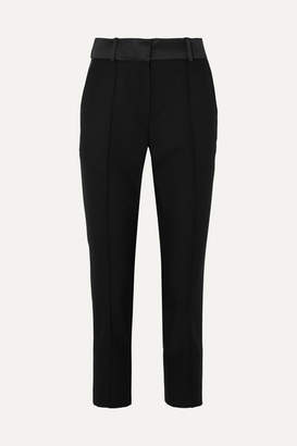 Racil - Satin-trimmed Wool Slim-leg Pants - Black