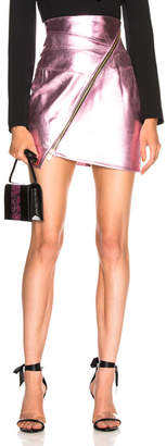 Alexandre Vauthier Metallic Leather Zip Mini Skirt
