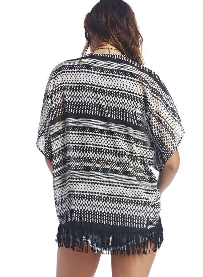 Wet Seal Aztec Chiffon Fringe Kimono