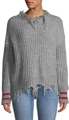 Pinko Destroyed Pullover Sweater w/ Striped Cuffs