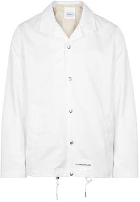 Calvin Klein Jeans White Logo-print Twill Jacket