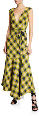 Derek Lam Sleeveless Plaid V-Neck Flounce Dress