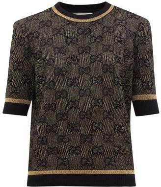 Gucci Gg Jacquard Wool Blend Sweater - Womens - Black Gold
