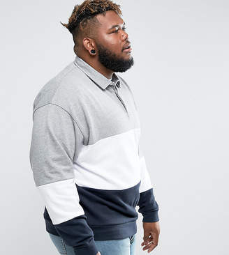 Asos PLUS Oversized Rugby Sweatshirt With Color Blocking