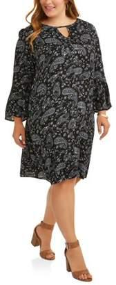 Terra & Sky Women's Plus Floral Print Woven Bell Sleeve Dress