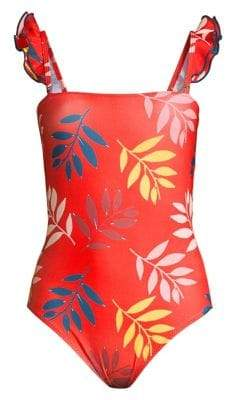 Carolina K. Multicolor Foliage One-Piece Swimsuit