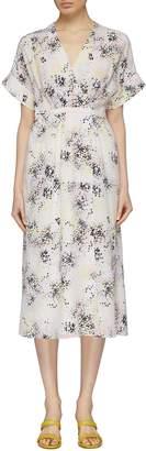 Equipment 'Tavine' floral print silk crepe wrap dress