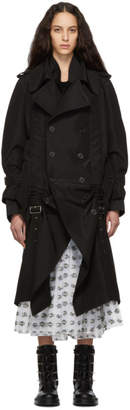 Noir Kei Ninomiya Black Silk and Cotton Belt Trench Coat
