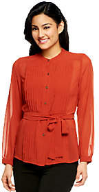 Cynthia Vincent CV by Pleated Chiffon ButtonFront Blouse