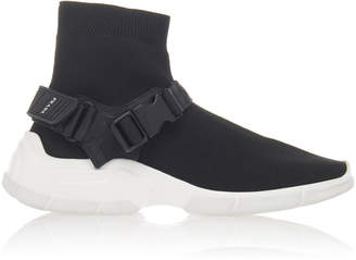 Prada Buckled Rubber-Trimmed Stretch-Knit Sneakers