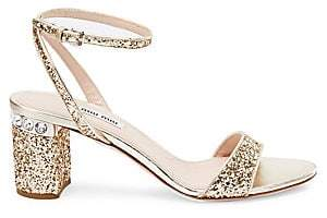 Miu Miu Women's Glitter Ankle-Strap Jewel-Heel Sandals