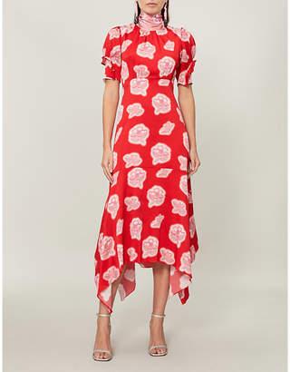 Peter Pilotto Floral-print high-neck silk midi dress