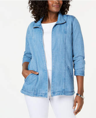 Karen Scott Denim Zip-Front Jacket, Created for Macy's