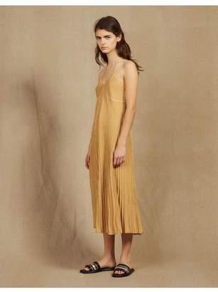 Sandro Long Dress In Pleated Lurex Knit