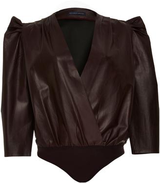 Zeynep Arcay Leather Wrap Bodysuit $1,600 thestylecure.com