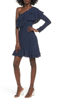 Women's Wayf Lace One-Shoulder Minidress $75 thestylecure.com