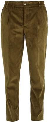 DE BONNE FACTURE Pleated-front tapered-leg corduroy trousers