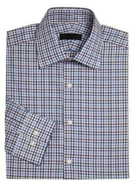 Long Sleeve Checkered Dress Shirt