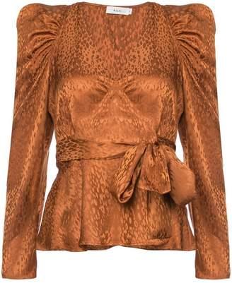 A.L.C. animal print ruffle sleeve top