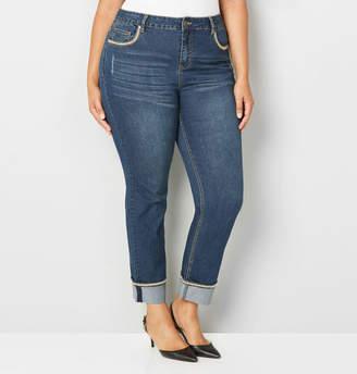 Avenue Chevron Stitch Convertible Cuff Straight Jean in Dark Wash