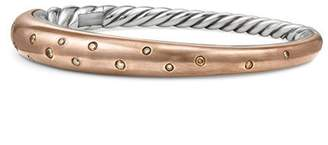David Yurman Pure Form Mixed Metal Smooth Bracelet with Diamonds, Bronze and Silver, 9.5mm